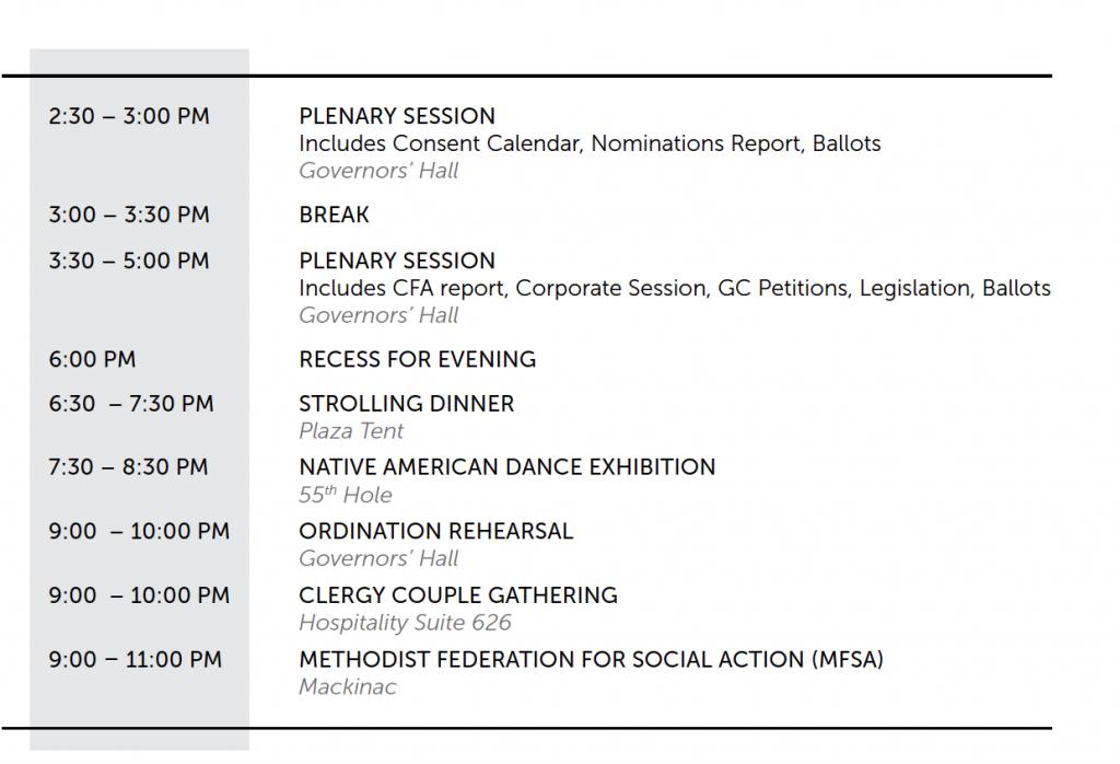 Friday Evening Schedule